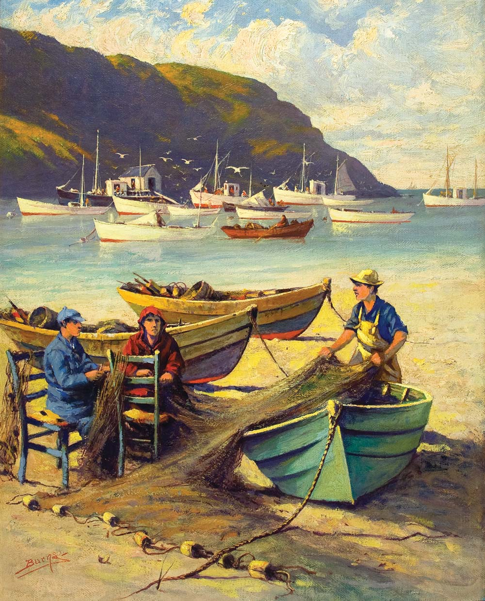 Milton J. Burns, Untitled (Mending Nets)