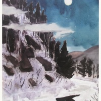Moon, Mist and Pine Print