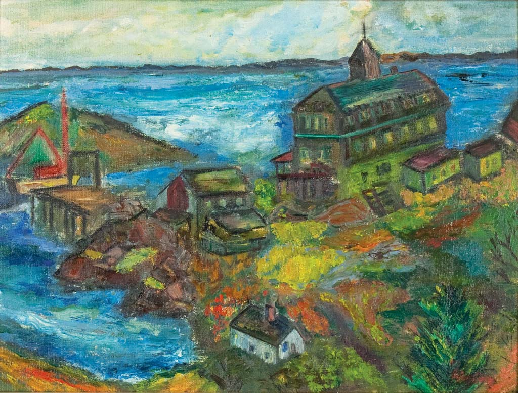 Bernstein, Theresa, The Island Inn and Wharf. Oil on canvas, 12 x 16 in. Private Collection.