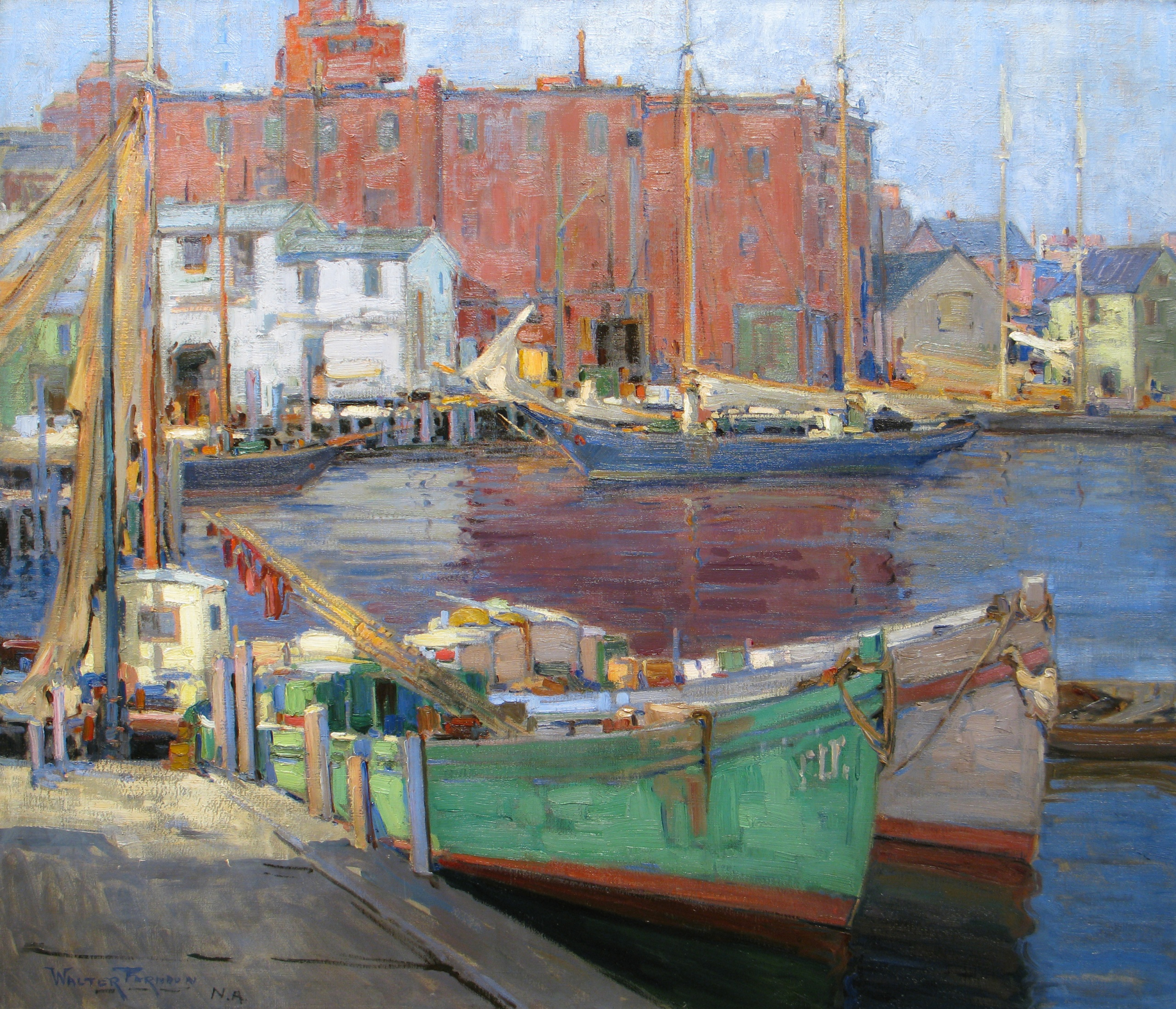 Farndon, Walter, The Docks, Gloucester, Massachuestts. Oil on board, 34 7/8 x 42 in. Collection of William Moe, Boulder, CO Image courtesy of Vose Galleries, Boston, MA.