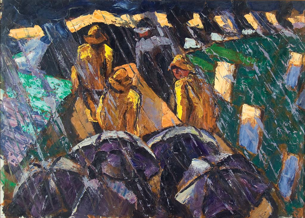 Fitzgerald, James, At the Graveyard. Oil on canvas, 27 1/2 x 38 in. Monhegan Museum of Art & History, James Fitzgerald Legacy, Gift of Anne Hubert.