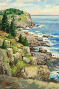 Mosher, Donald Allen, Monhegan Headlands. Oil on canvas, 30 x 20 in. Private Collection.