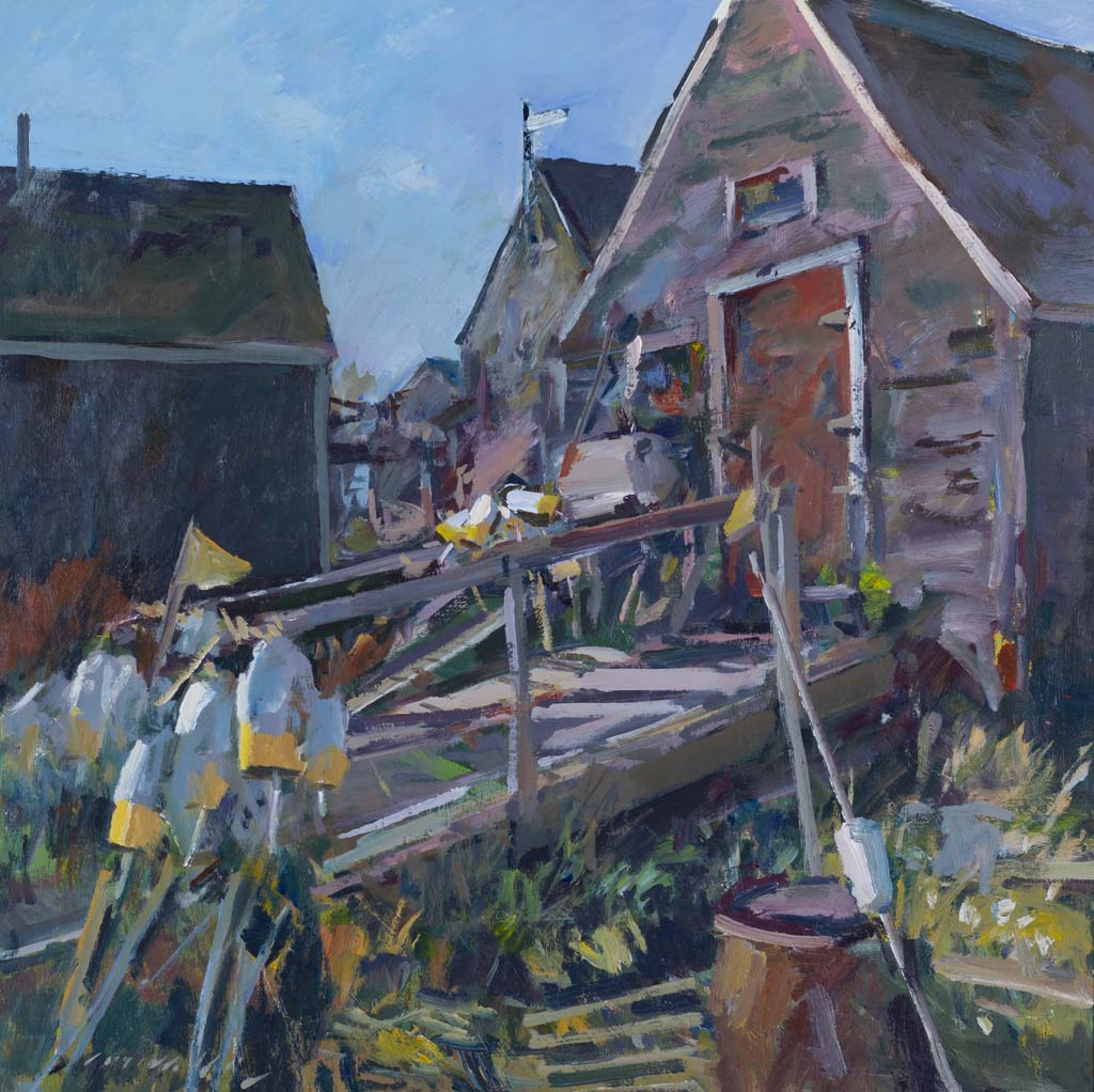 Movalli, Charles, Fish Houses, Monhegan, 2010. Acrylic on linen, 36 x 36 in. Collection of Dale Ratcliff Movalli.