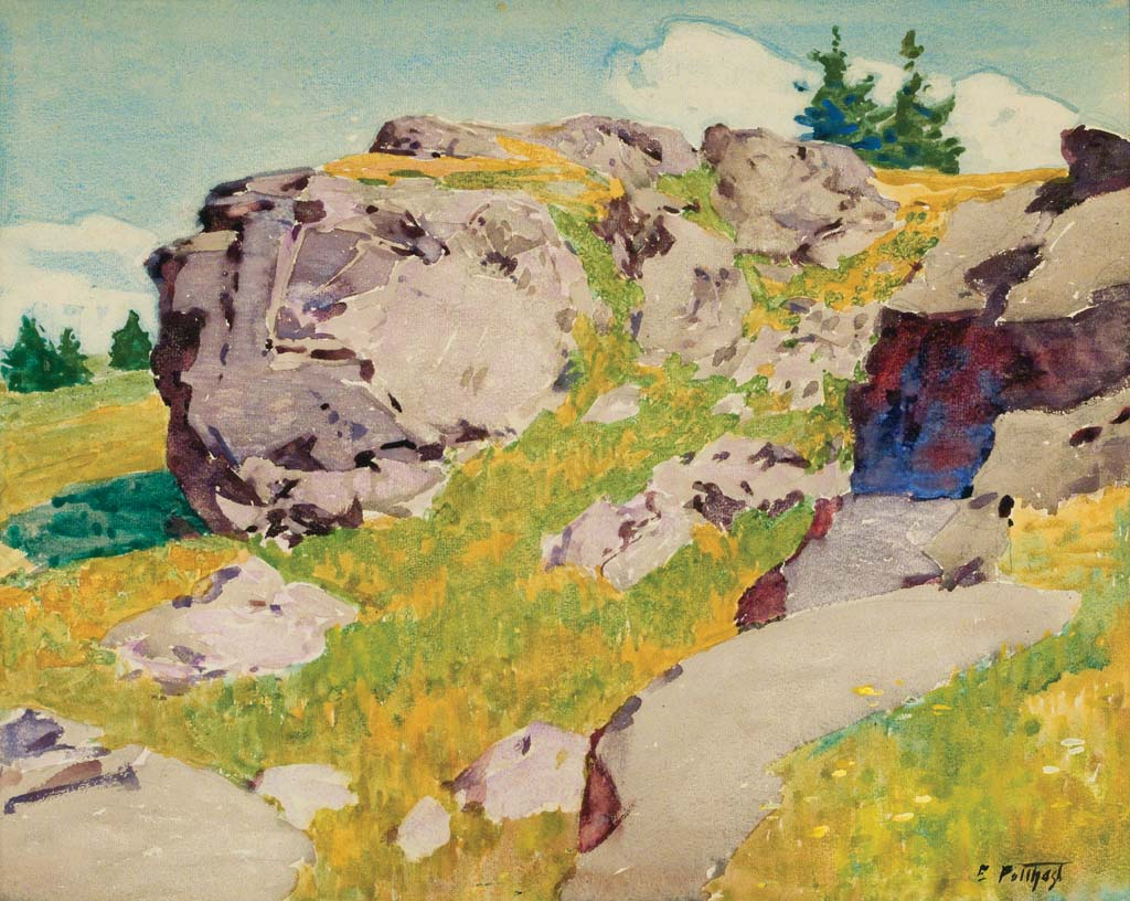 Potthast, Edward Henry, Crow's Nest, Monhegan, c.1920. Watercolor with gouache, 15 3/4 x 19 1/2 in. Private Collection.