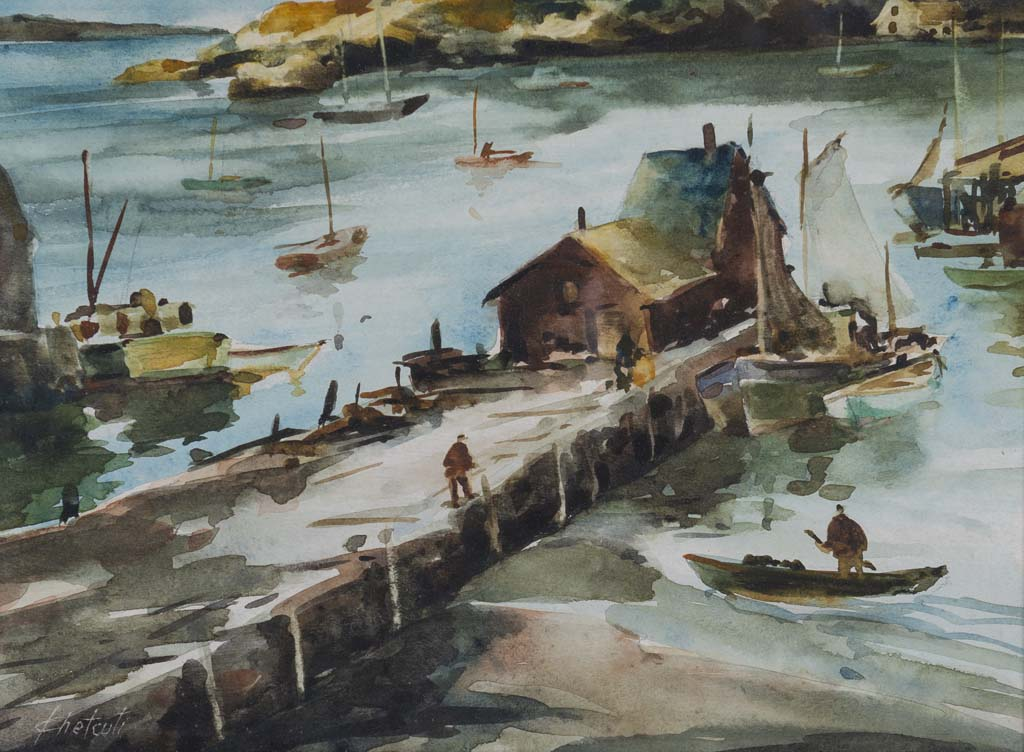 Chetcuti, John, Motif #1. Watercolor on paper, 13 3/4 x 16 1/4 in. Rockport Art Association & Museum Permanent Collection.
