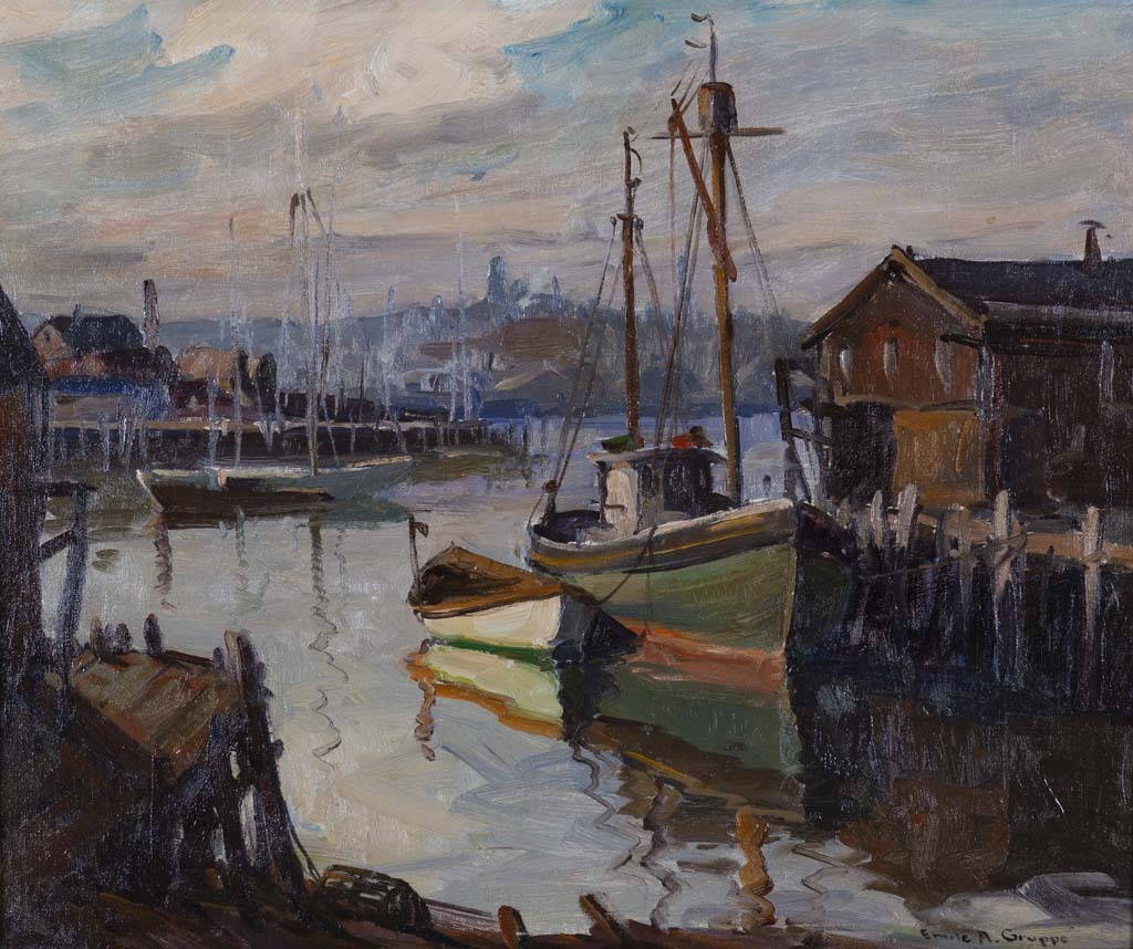 Gruppe, Emile, Gloucester Harbor. Oil on canvas, 20 x 24 in. Rockport Art Association & Museum Permanent Collection.